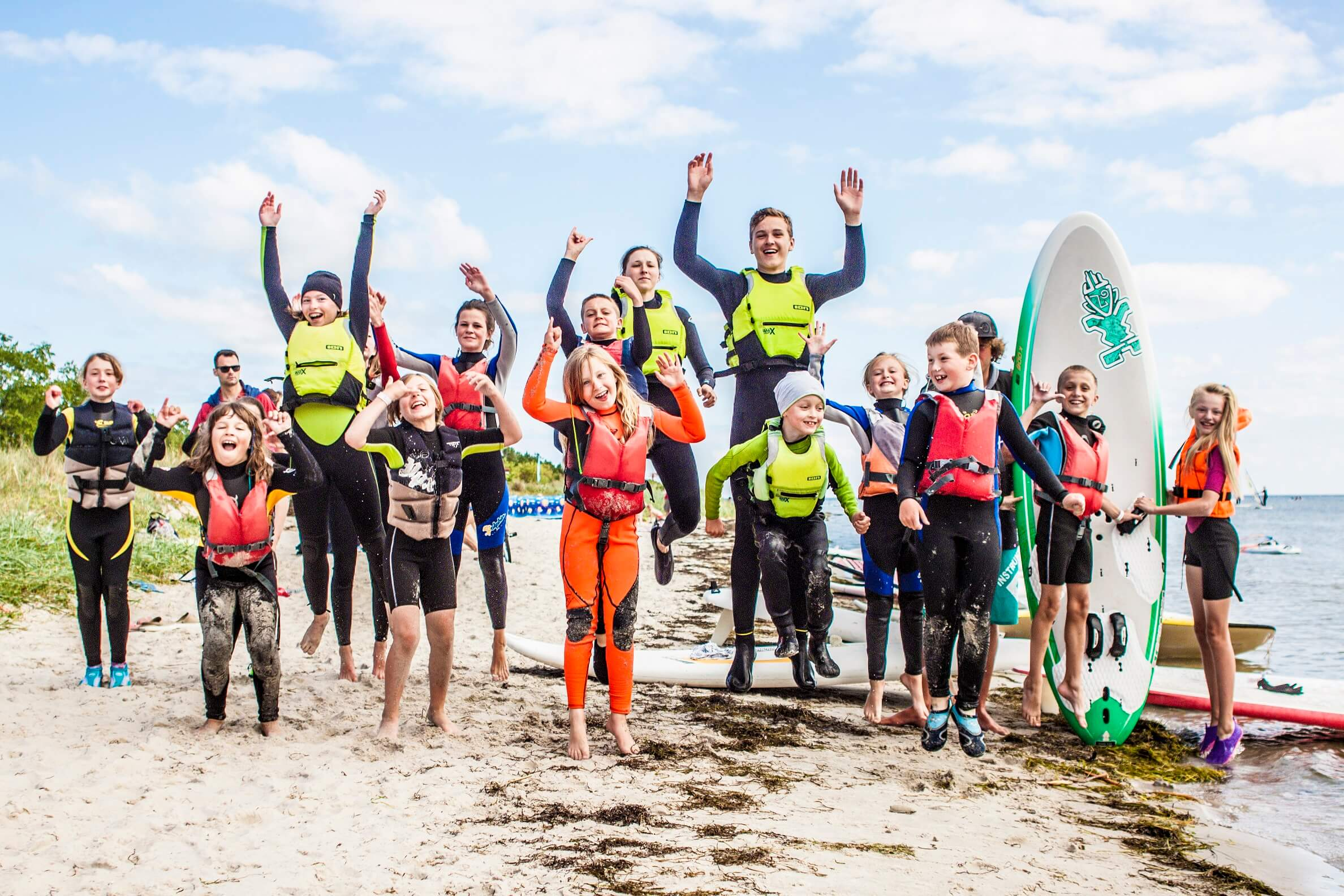 zdjęcie z uczestnikami obozu kitesurfingowego